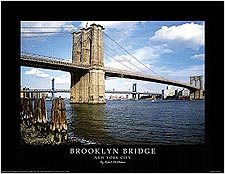 Brooklyn Bridge New York City Scenic Mini Poster Print For Sale