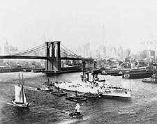 Brooklyn Bridge & USS Florida New York City Photo Print for Sale