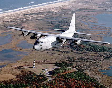 C-130 Hercules Transport Aircraft in Flight Photo Print