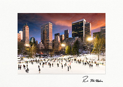 Central Park Wollman Sunset Ice Skating Boxed Christmas Cards
