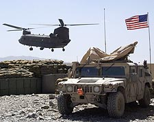 Ch-47 Chinook Helicopter & Army Humvee Photo Print for Sale