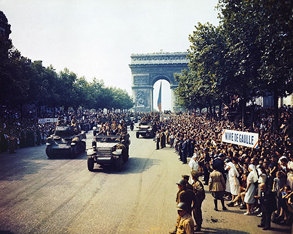 Champs Elysees During Paris Liberation 1944 Photo Print