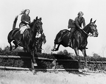 Children on Horse Jumping Hedge Early 1900s Photo Print