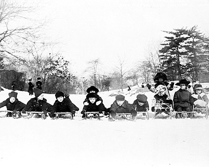 Children on Sleds in Central Park 1915 Photo Print