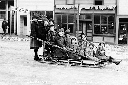 Children & Sleigh Early 1900s Seward Alaska Photo Print