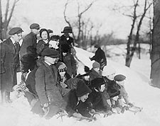 Children w/ Snow Sleds in Central Park NYC Photo Print for Sale