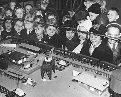 Children w/ Toy Train Set Christmas 1950's Photo Print