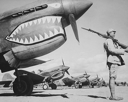 Chinese Soldier with American P-40 Fighter Planes WWII Photo Print