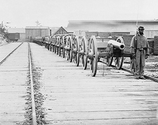 Civil War Cannons Guarded By Black Soldier Photo Print