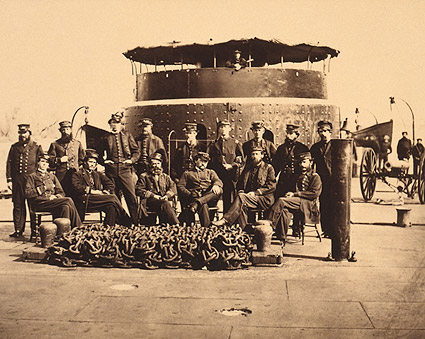 Civil War Officers on Deck of a Union Monitor Ship Photo Print