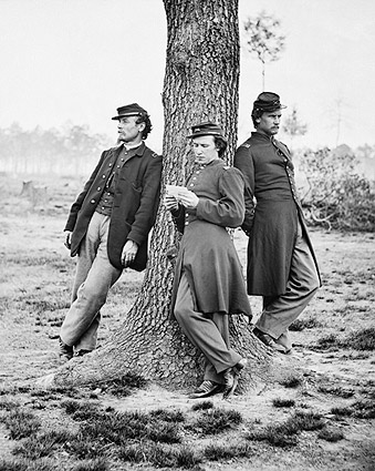 Civil War Union Soldiers Relaxing on Tree Photo Print