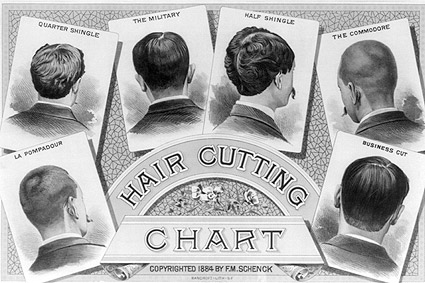 Classic Barber Shop Haircut Chart 1884 Photo Print