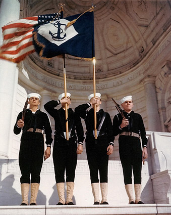 Color Guard with Navy Battalion Flag, WWII Photo Print