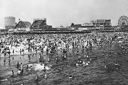 Coney Island Beach Crowds on 4th of July Photo Print