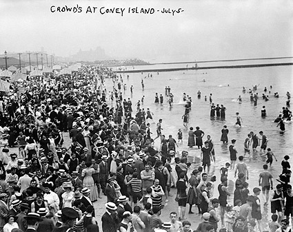 Coney Island Summer Beach Crowds New York Photo Print
