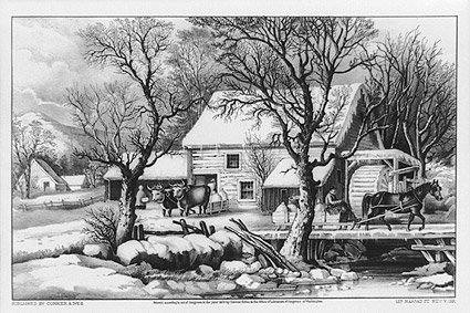 Currier & Ives Winter Scene 'Frozen Up' Photo Print