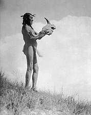Dakota Man Buffalo Skull Edward S. Curtis Photo Print for Sale
