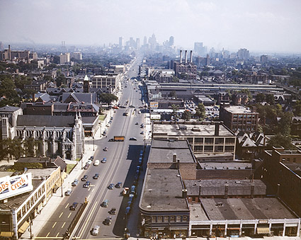 Detroit Skyline & Woodward Avenue 1942 Photo Print
