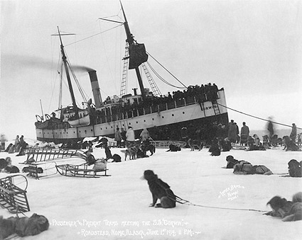 Dog Sledding & S.S. Corwin at Nome Alaska Photo Print