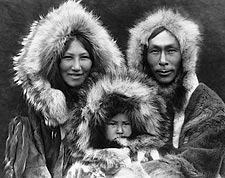 Edward S. Curtis 1929 Noatak Eskimo Family Photo Print for Sale