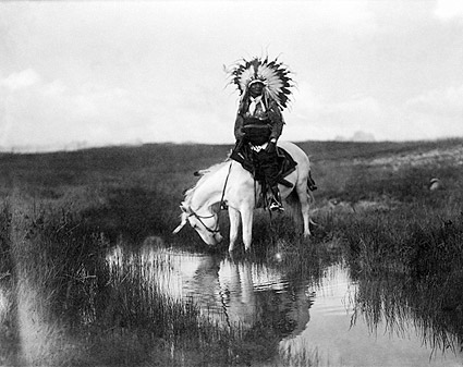 Edward S. Curtis Cheyenne Indian on Horse Photo Print