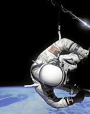 Edward White Gemini 4 Astronaut EVA Over Earth Photo Print for Sale