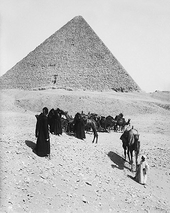 Egyptian Pyramids of Giza & Bedouins, Egypt Photo Print