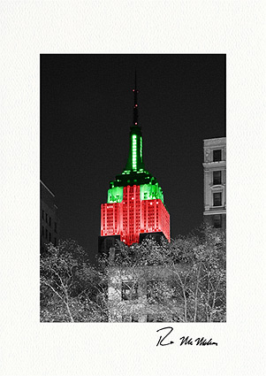 Empire State Building Holiday Colors Boxed Christmas Cards