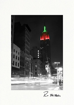 Empire State Building Luminous Christmas Individual Greeting Cards