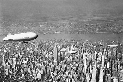 Empire State & Chrysler w/ Navy Blimp, NYC Photo Print