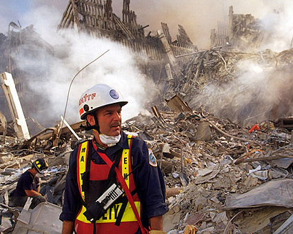 EMS Worker Among Ruins 9/11 Photo Print