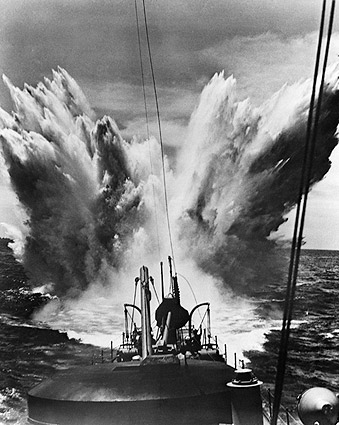 Enemy Bombing of U.S. Ship WWII 1940s Photo Print