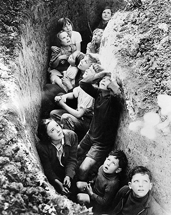English Children in Bomb Shelters WWII 1940 Photo Print