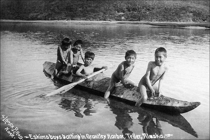 Eskimo Boys & Kayak, Grantley Harbor Alaska Photo Print