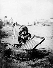 Eskimo Child & Washtub Alaska 1905 Portrait Photo Print for Sale