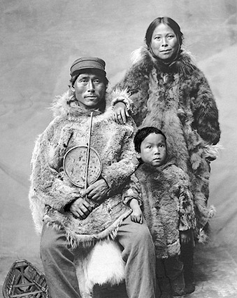 Eskimo Family in Nome, Alaska Photo Print