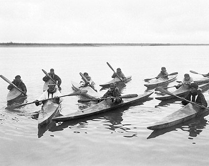 Eskimos Kayaking in Alaska Edward S. Curtis Photo Print