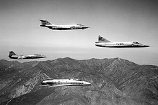 F-100 F-101 F-102 and F-104 in Flight Photo Print