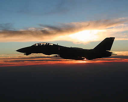 F-14 Tomcat Sunset in Flight Navy Photo Print