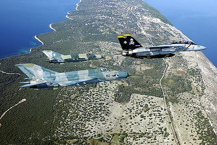 F-14 Tomcat w/ MiG-21 in Flight Photo Print