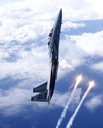 F-15D / F-15 Eagle Aircraft Vertical Flares Photo Print