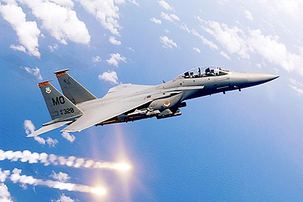 F-15E / F-15 Strike Eagle Firing Flares Photo Print