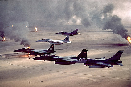 F-16 & F-15 Fighters Desert Storm Oil Field Photo Print