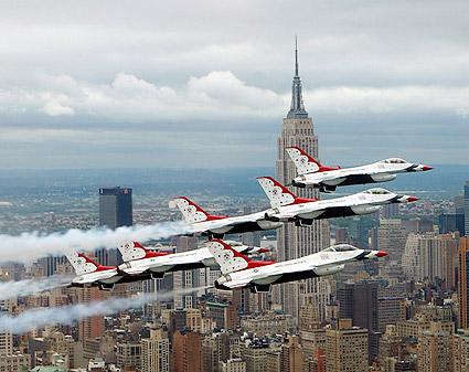 F-16 Falcon Aircraft & Thunderbirds NYC Photo Print