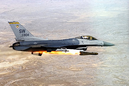 F-16 Falcon Fighter Fires Missile Photo Print