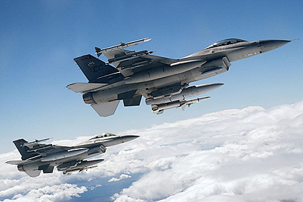 F-16 Fighting Falcons in Flight Photo Print