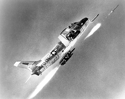 F-86 Sabre Jet Firing Rockets Photo Print
