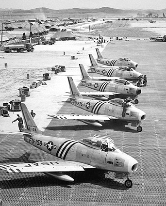 F-86 Sabre Jet Korean War Flight Line Photo Print