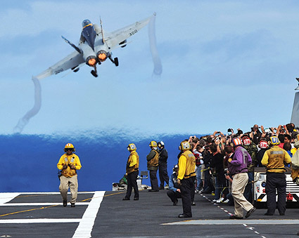 F/A-18C Hornet Launches From USS Abraham Lincoln Photo Print