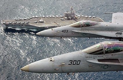 F/A-18C Hornets Above USS Ronald Reagan  Photo Print